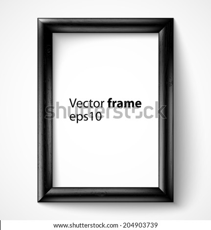 Black wooden rectangular 3d photo frame with shadow. Vector illustration  - stock vector