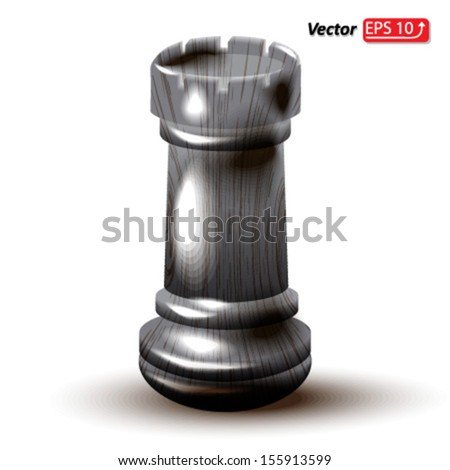 black wooden rook , chess piece , chess icon, chess figure , isolated on white background vector - stock vector