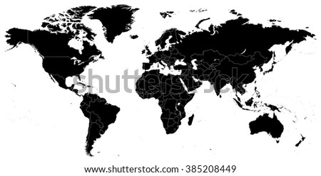 Black World Map - illustration   Highly detailed contour of world map.  Image contains next layers: - land contours - country and land names - city names - water object names  - stock vector
