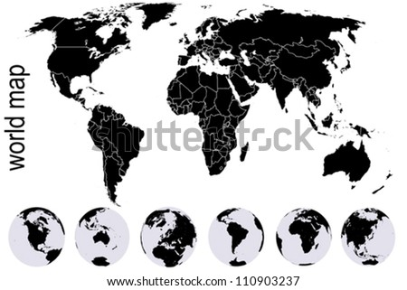 Black world map with set of Earth globes