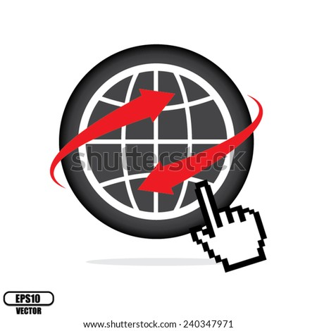Black World wide web internet or Internet search concept, Earth globe with hand cursor pointer, Isolated on white background. Vector illustration. - stock vector