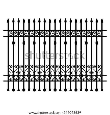 Black wrought-iron lattice fence element. Vector illustration.  - stock vector