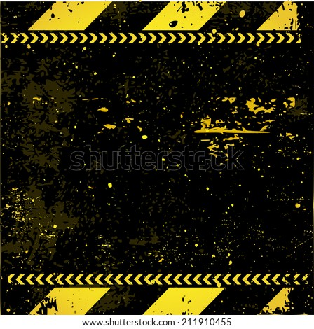 Black-yellow striped background with warning, grungy construction pattern vector - stock vector