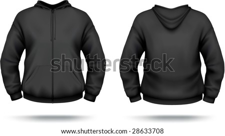 Black zipper hoodie with front pocket. VECTOR, contains gradient mesh elements. More clothing designs in my portfolio! - stock vector