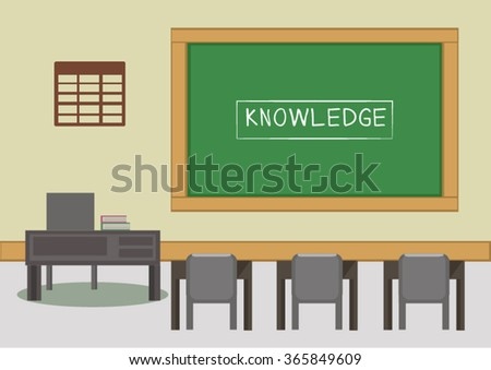 blackboard and desk in the classroom