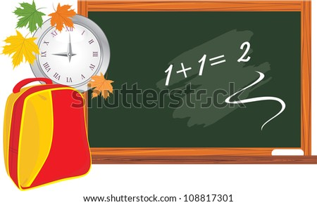 Blackboard and school backpack. Back to school. Vector - stock vector