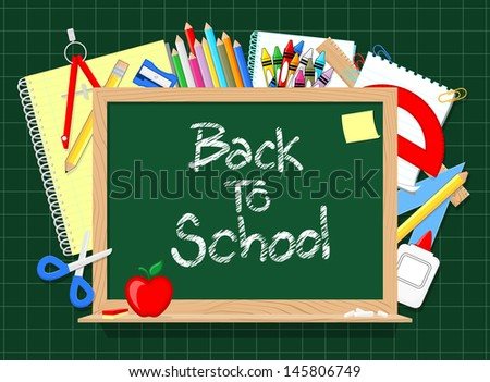 blackboard and school education supplies items background, in vector format very easy to edit, individual objects, only solid colors, no gradients