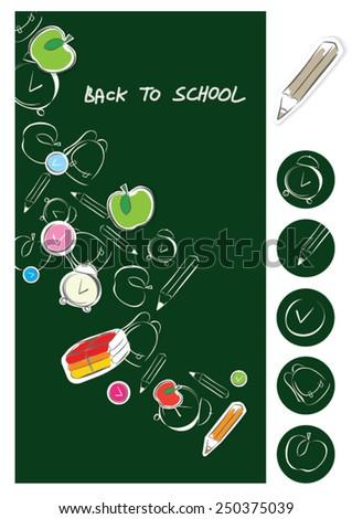 Blackboard back to school ensemble - stock vector