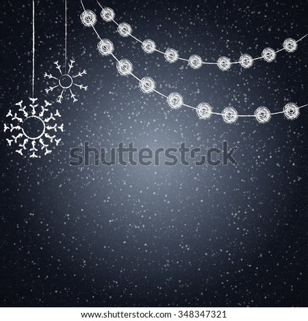 Blackboard background with drawing christmas decor. Vector illustration - stock vector