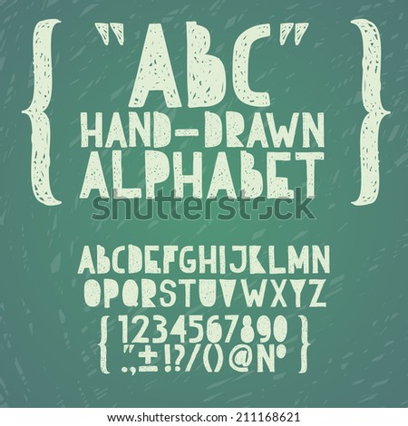 Blackboard chalkboard Chalk hand draw doodle abc, alphabet grunge scratch type font vector illustration. - stock vector