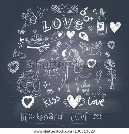 Blackboard romantic set in vector. Cartoon love symbols in vintage style - stock vector