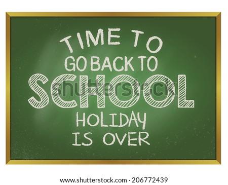blackboard TIME TO SCHOOL - stock vector