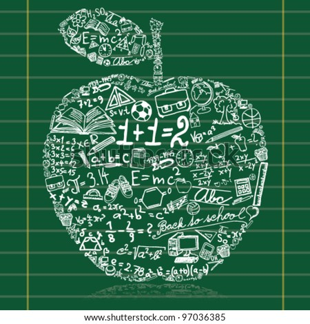 Blackboard with apple made of school symbols - stock vector