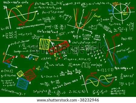 Blackboard with colored mathematics sketches and formula - vector illustration - stock vector