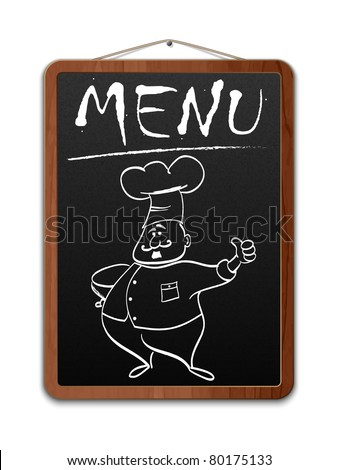 Blackboard with menu inscription and outlined chef. Vector - stock vector