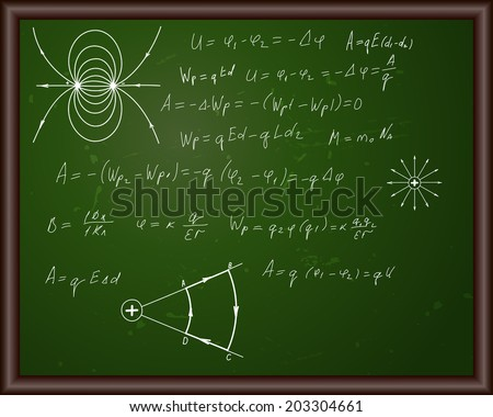 Blackboard with physical formulas. Eps 10 vector illustration with transparency.  - stock vector