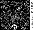 Blackboard with school symbols - vector illustration - stock photo