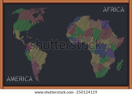 Blackboard with the Map of Africa and America - stock vector