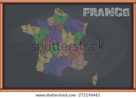 Blackboard with the Map of France - stock vector