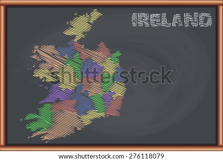 Blackboard with the Map of Ireland - stock vector