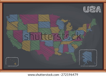 Blackboard with the Map of United States - stock vector