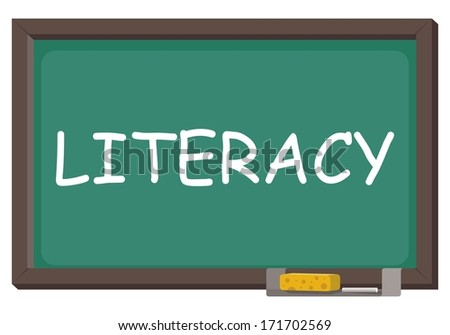 blackboard with word literacy - stock vector