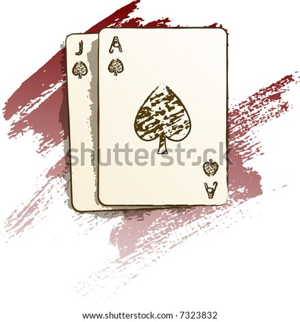 Blackjack hand in a painted style - stock vector
