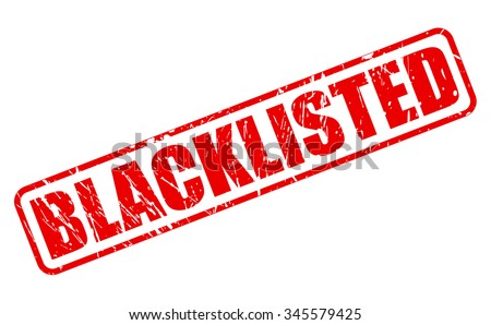 BLACKLISTED red stamp text on white - stock vector