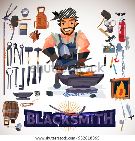 Blacksmith character design with metalwork tools. typographic for header. infographic. icon elements - vector illustration