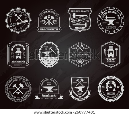 Blacksmith ironworks forge industry equipment label chalkboard set isolated vector illustration - stock vector