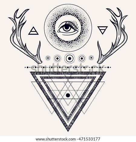 Dreamcatcher With Third Eye Feathers And Deer Antlers Vector
