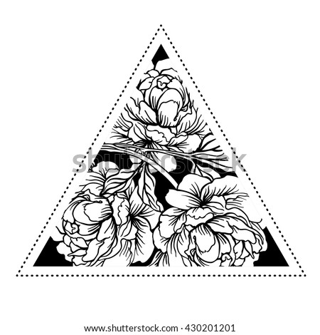 Blackwork tattoo flash. Peony flower with sacred geometry. Vector illustration isolated on white. Tattoo design, mystic symbol. New school dotwork. Boho design. Print, posters, t-shirts and textiles.