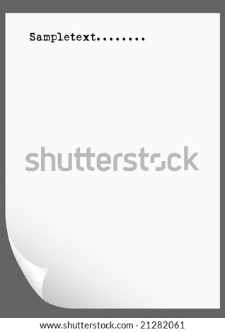 Blank A4 white paper, ready for your text - stock vector