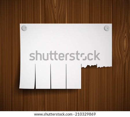 blank ads on the wooden wall - stock vector