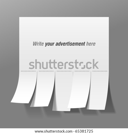 Blank Advertisement Tear Off Tabs Vector Vector 65381725 – Tear off Tabs