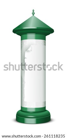 Blank advertising column  Vector illustration isolated on white background - stock vector