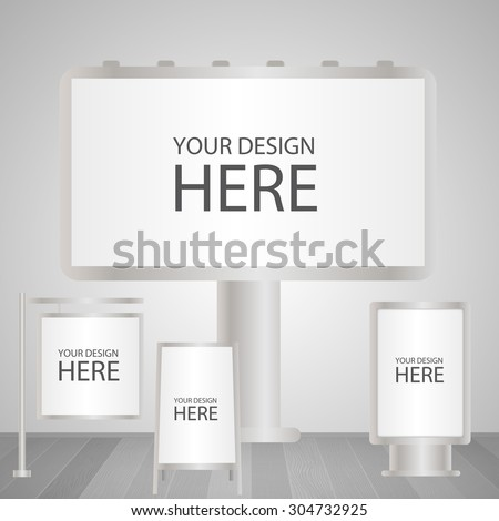 Blank advertising sign outdoor boards set - stock vector