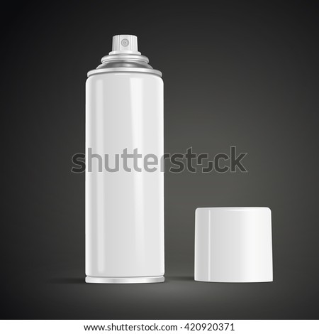 blank aerosol can isolated on black background. 3D illustration. - stock vector