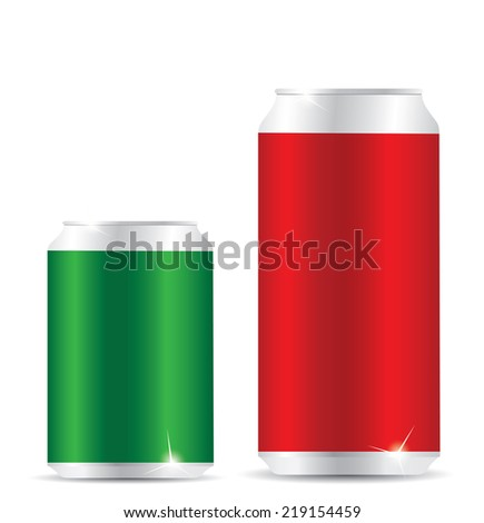 Blank aluminum can on white background - stock vector