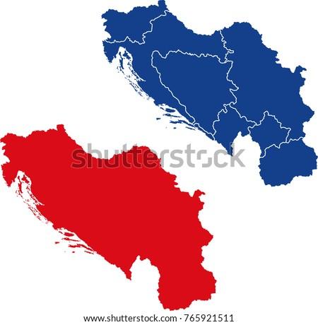 Blank border separated map yugoslavia stock vector 765921511 blank and border separated map of yugoslavia gumiabroncs Choice Image