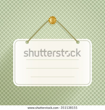Blank announcement plate hanging on the wall template. - stock vector