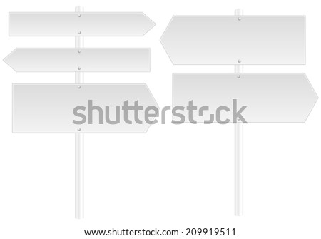 Blank arrow signposts - stock vector