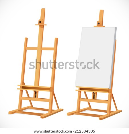 Blank art board on wooden easel isolated on white background - stock vector