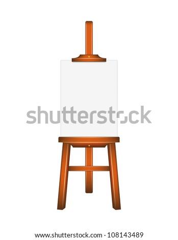 Blank art board, wooden easel - stock vector
