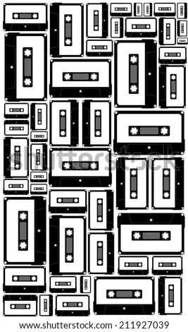 Blank audio cassette tape background, vector art image illustration. 1980s retro music technology concept. black and white design abstract seamless pattern - stock vector