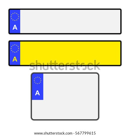Blank Austrian vehicle licence plates in different styles vector