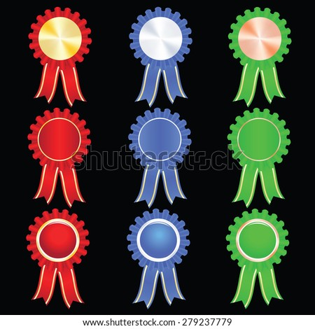 Blank Award ribbons gold silver bronze isolated on black background, vector eps10 illustration - stock vector