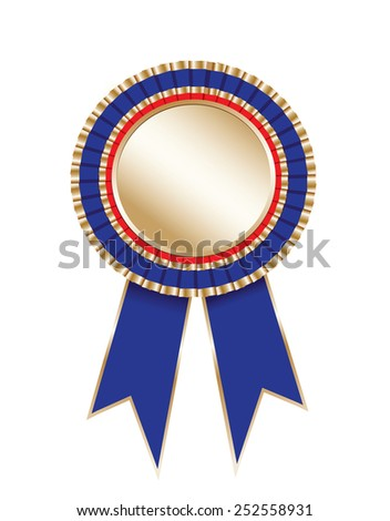 Blank award rosette with ribbon - stock vector