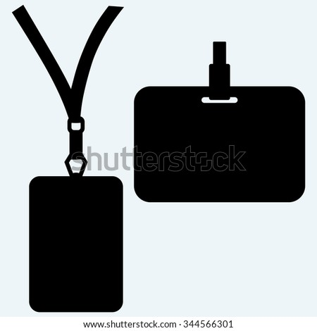 Blank badge with neckband. Isolated on blue background. Vector silhouettes - stock vector