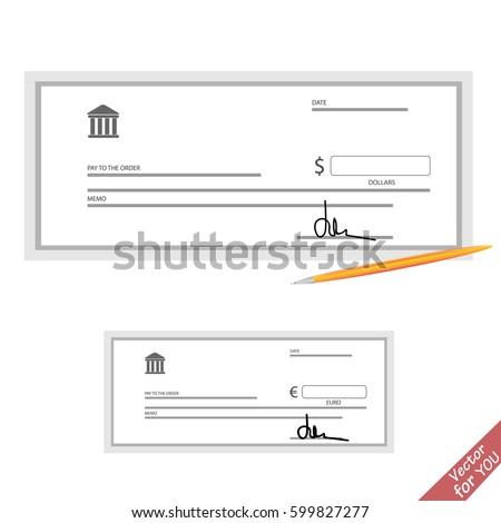 Blank bank check template stock vector 599827277 shutterstock blank bank check template pronofoot35fo Gallery